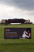British Steel Scunthorpe. Greybull Capital has put British Steel into receivership. Lincolnshire. Advertisment for Outstanding Performance - John Harris - 2010s,2019,advertisement,advertising,bankrupt,bankruptcy,billboard,billboards,Capital,capitalism,communicating,communication,EBF,Economic,Economy,factory,Industries,industry,Job Losses,jobs,liquidated