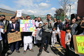 Shakeel Afsar speaking, protest against LGBT education, Anderton Park Primary School, Birmingham - John Harris - 2010s,2019,activist,activists,against,anti gay,antigay,BAME,BAMEs,Belief,Birmingham,Black,BME,bmes,boy,boys,campaigner,campaigners,CAMPAIGNING,CAMPAIGNS,child,CHILDHOOD,children,communicating,communic