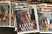 Newspaper headlines showing Theresa May crying as she announces her resignation - John Harris - 2010s,2019,CONSERVATIVE,Conservative Party,conservatives,cry,crying,dominant narrative,EBF,Economic,Economy,emotion,emotional,emotions,heap,journalism,media,news,News International,newsagent,newsagent