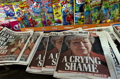 Newspaper headlines showing Theresa May crying as she announces her resignation - John Harris - 2010s,2019,CONSERVATIVE,Conservative Party,conservatives,cry,crying,dominant narrative,EBF,Economic,Economy,emotion,emotional,emotions,heap,journalism,media,news,newsagent,newsagents,newspaper,newspap