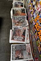 Newspaper headlines showing Theresa May crying as she announces her resignation - John Harris - 2010s,2019,CONSERVATIVE,Conservative Party,conservatives,cry,crying,dominant narrative,EBF,Economic,Economy,emotion,emotional,emotions,heap,journalism,media,news,newsagent,newsagents,newspaper,newspap