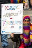 Supporting gay Muslims, Birmingham Gay Pride. Muslim and Lesbian equals fabulous - Jess Hurd - 2010s,2019,ACE,BAME,BAMEs,Birmingham,Birmingham Gay Pride 2019,Black,Black and White,BME,bmes,Culture,diversity,equal,ethnic,ethnicity,FEMALE,Gay,Gay Muslim,Gays,Homosexual,HOMOSEXUALITY,Homosexuals,I