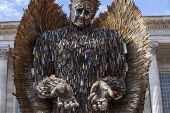 Knife Angel sculpture, a National Monument against Violence and Aggression. Made from confiscated and surrendered knives and weapons from all 43 UK police forces by British Ironwork Centre and artist... - Jess Hurd - 2010s,2019,ACE,adult,adults,against,amnesty,art,arts,artwork,artworks,Birmingham,British Ironwork Centre,cities,City,confiscated,crime,culture,knife,knife amnesty,Knife Angel,Knife crime,knives,monume