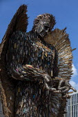 Knife Angel sculpture, a National Monument against Violence and Aggression. Made from confiscated and surrendered knives and weapons from all 43 UK police forces by British Ironwork Centre and artist... - Jess Hurd - 25-05-2019