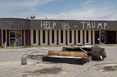 Panama City, Florida, USA: Help Us Trump scrawled on a damaged store. Destruction from Hurricane Michael 7 months after the storm hit the Florida Panhandle - Jim West - 09-05-2019