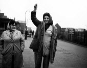 Imperial Typewriters factory occupation Hull 1975. Women workers brandishing the keys to the plant occupied by the striking workforce as they resisted its closure by an American multinational - John Sturrock - 21-02-1975