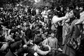 Darshna Thomkinson of the International Socialists speaking Imperial Typewriters Strike for equal pay protest, Leicester 1974 - John Sturrock - 29-04-1974