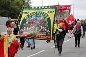 RMT, Orgreave 35th Anniversary Rally, Orgreave, Sheffield, South Yorkshire - John Harris - 2010s,2019,activist,activists,against,Anniversary,banner,banners,Battle of Orgreave,CAMPAIGNING,CAMPAIGNS,COMMEMORATE,COMMEMORATING,commemoration,COMMEMORATIONS,commemorative,DEMONSTRATING,Demonstrati