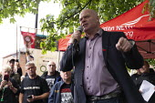 Steve Hedley RMT speaking, Orgreave 35th Anniversary Rally, Orgreave, Sheffield, South Yorkshire - John Harris - 2010s,2019,activist,activists,against,Anniversary,Battle of Orgreave,CAMPAIGNING,CAMPAIGNS,COMMEMORATE,COMMEMORATING,commemoration,COMMEMORATIONS,commemorative,DEMONSTRATING,Demonstration,march,marchi