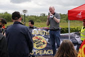 Matt Wrack, Orgreave 35th Anniversary Rally, Orgreave, Sheffield, South Yorkshire - John Harris - 2010s,2019,activist,activists,against,Anniversary,banner,banners,Battle of Orgreave,CAMPAIGNING,CAMPAIGNS,COMMEMORATE,COMMEMORATING,commemoration,COMMEMORATIONS,commemorative,DEMONSTRATING,Demonstrati