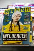 Greta Thunberg Influencer, front cover of Wired magazine on a newsagents shelf. Inside the activist rebellion, How a 16 year old became the voice of the planet - John Harris - 16-06-2019