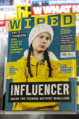 Greta Thunberg Influencer, front cover of Wired magazine on a newsagents shelf. Inside the activist rebellion, How a 16 year old became the voice of the planet - John Harris - 2010s,2019,activist,activists,adolescence,adolescent,adolescents,against,campaigner,campaigners,CAMPAIGNING,CAMPAIGNS,celebrities,celebrity,child,CHILDHOOD,children,Climate Change,climate strike,DEMON
