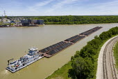 Louisville, Kentucky, USA: Tug Diane B Siegel pushing coal barges up the Ohio River - Jim West - 2010s,2019,aerial,american,americans,barge,barges,boat,boats,cargo,coal,Coal Industry,coalfield,coalindustry,commerce,EBF,Economic,Economy,energy,fossil fuel,fuel,horizontal,Kentucky,logistics industr