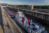 Louisville, Kentucky, USA: Marathon Petroleum towboat Paul G Blazer pushing oil barges through the McAlpine Lock, Ohio River - Jim West - 20-05-2019