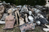 Dollywood mannequin recycling centre. Fire damaged figures. Mannakin refurbishes the mannequins for hire and resale so they do not go to landfill as waste, nr Grantham. The centre has around 10,000 du... - John Harris - 20-06-2019
