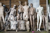 Dollywood mannequin recycling centre. Fire damaged figures. Mannakin refurbishes the mannequins for hire and resale so they do not go to landfill as waste, nr Grantham. The centre has around 10,000 du... - John Harris - 2010s,2019,accident,accidental,accidents,adult,adults,bodies,body,burnt out,council services,council services,damage,damaged,destroyed,destruction,DIA,dummies,dummy,EBF,Economic,Economy,ENI,environmen