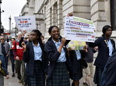 The Time Is Now - Christian Aid protest and lobby of Parliament calling for urgent action on climate change. Secondary schoolgirls from St Catherine's Roman Catholic School Bexleyheath given time off... - Stefano Cagnoni - 26-06-2019