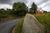 Yarn bombing or guerrilla knitting in Llwyngwril, the quirky little Welsh village knits creations through the winter as a community project to decorate the village in the summer months, Cambrian Coast... - Jess Hurd - 25-06-2019