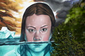Greta Thunberg mural Bristol, painted by Jody Thomas a Bristol Graffiti artist. It depicts Swedish climate change activist Greta Thunberg being submerged in water as global warming melts the icecaps r... - Paul Box - 28-06-2019
