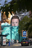 Greta Thunberg mural Bristol, painted by Jody Thomas a Bristol Graffiti artist. It depicts Swedish climate change activist Greta Thunberg being submerged in water as global warming melts the icecaps r... - Paul Box - 2010s,2019,ACE,activist,activists,against,Aldi,art,arts,artwork,artworks,autism,autistic,AUTO,AUTOMOBILE,AUTOMOBILES,Behavioural,campaigner,campaigners,CAMPAIGNING,CAMPAIGNS,car,cars,Climate Change,cu