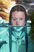 Greta Thunberg mural Bristol, painted by Jody Thomas a Bristol Graffiti artist. It depicts Swedish climate change activist Greta Thunberg being submerged in water as global warming melts the icecaps r... - Paul Box - 2010s,2019,ACE,activist,activists,against,art,arts,artwork,artworks,autism,autistic,Behavioural,CAMPAIGN,campaigner,campaigners,CAMPAIGNING,CAMPAIGNS,Climate Change,culture,DEMONSTRATING,DEMONSTRATION
