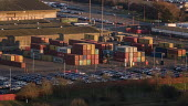 Royal Portbury Dock, Avonmouth, automotive import and export - Paul Box - 2010s,2019,Aerial View,Bristol,container,containers,dock,docks,dockside,EBF,Economic,Economy,export,exports,from the air,HARBOUR,import,IMPORTED,imports,PORTS,quay,QUAYS,quayside,waterfront,WHARF