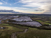 Royal Portbury Dock, Avonmouth, automotive import and export of Mitsubishi and Toyota vehicles - Paul Box - 2010s,2019,Aerial View,AUTO,AUTOMOBILE,AUTOMOBILES,automotive,Bristol,car,Car Industry,carindustry,cars,dock,docks,dockside,EBF,Economic,Economy,export,exports,from the air,HARBOUR,import,IMPORTED,imp