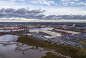 Royal Portbury Dock, Avonmouth, automotive import and export of Mitsubishi and Toyota vehicles - Paul Box - 2010s,2019,Aerial View,AUTO,AUTOMOBILE,AUTOMOBILES,automotive,boat,boats,Bristol,car,Car Industry,carindustry,cars,dock,docks,dockside,EBF,Economic,Economy,export,exports,from the air,HARBOUR,import,I