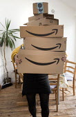 Amazon delivery of presents to a home, Bristol - Paul Box - 2010s,2019,Amazon,box,boxes,buy,buyer,buyers,buying,buys,cardboard box,christmas,commodities,commodity,deliveries,delivering,delivery,EBF,Economic,Economy,goods,home,Logistics Services,parcel,parcels,
