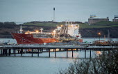 Tanker moored, Valero Oil Refinery jetty, Rhoscrowther, Pembroke, Pembrokeshire - Paul Box - 2010s,2019,boat,boats,capitalism,coast,coastal,coasts,dock,docks,dockside,EBF,Economic,Economy,harbor,harbors,harbour,harbours,import,IMPORTED,imports,Industries,industry,infrastructure,marine,maritim