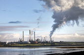 Valero Oil Refinery, Milford Haven, Pembrokeshire - Paul Box - 2010s,2019,Air Pollution,Air Quality,C02 Emissions,chimney,chimneys,coast,coastal,coasts,EBF,Economic,Economy,ENI,environment,environmental degradation,Environmental Issues,Milford Haven,nature,NOX,Oi