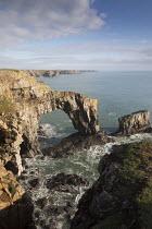 Stack Rocks, Green Bridge of Wales, Pembrokeshire. Castlemartin MoD range - Paul Box - 2010s,2019,Bridge,COAST,country,countryside,ENI,environment,Environmental Issues,landscape,landscapes,MoD,National Park,nature,OCEAN,outdoors,outside,Rocks,RURAL,sea,seashore,seaside,seasides,shore,sh