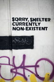 Sorry homeless shelter currently non-existent graffiti, Bristol - Paul Box - 2010s,2019,activist,activists,against,CAMPAIGNING,CAMPAIGNS,cities,City,close,closed,closing,closure,closures,DEMONSTRATION,Graffiti,homeless,homelessness,PEOPLE,protest,PROTESTER,PROTESTERS,protestin
