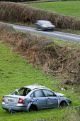 Car crash A39, Somerset - Paul Box - 2010s,2019,accident,accidental,accidents,AUTO,AUTOMOBILE,AUTOMOBILES,car,cars,crash,DIA,highway,incident,incidents,road,Road Safety,Road Traffic Accident,Road Transport,roads,roadside,RTA,RTC,RTI,Some