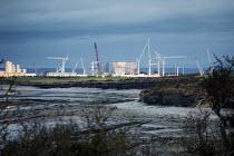 Hinkley Point C Nuclear power station under construction, Somerset - Paul Box - 2010s,2019,atomic,coast,coastal,coasts,Construction Industry,EBF,Economic,Economy,Hinkley,Nuclear,nuclear power station,OCEAN,reactor,REACTORS,sea,shoreline,Somerset,station,STATIONS,WATER
