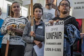 San Francisco, California, USA, veterinary workers strike at the VCA veterinary hospital for an hour to protest the violation of their union rights. Workers voted for the union a year earlier but the... - David Bacon - 27-06-2019