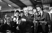 The Beatles receiving the Variety Club Award from Harold Wilson London 1964: Show Business Personalities Of 1963 - Romano Cagnoni - 1960s,1964,ACE,awards,Business,Club,clubs,entertainment,George Harrison,Harold Wilson,honor,honour,John Lennon,John Paul George and Ringo,Labour Party,London,male,man,men,MP,MPs,Paul McCartney,people,