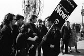Young Socialist members in heated discussion, CND protest, Labour Party Conference Blackpool 1965 - Romano Cagnoni - peace movement,1960s,1965,activist,activists,against,Anti War,Antiwar,argue,arguing,argument,Blackpool,Campaign for nuclear disarmament,CAMPAIGNING,CAMPAIGNS,CND,CND Symbol,communicating,communication