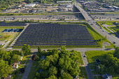 Detroit, Michigan, USA, 2 MWe DTE Energy solar installation built on vacant land as the city population has continued to decline. The project is one of the largest urban solar installations in America - Jim West - 2010s,2019,aerial,Alternative Energy,America,american,americans,cities,City,depopulation,Detroit,DTE Energy,EBF,Economic,Economy,ELECTRICAL,electricity,energy,ENI,environment,Environmental Issues,gene