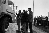 Road haulage strike 1979. Pickets at Freightliner Terminal, Stratford, East London - NLA - 1970s,1979,7,communicating,communication,conversation,conversations,dialogue,discourse,discuss,discusses,discussing,discussion,DISPUTE,disputes,driver,drivers,driving,EARNINGS,haulage,HAULIER,HAULIERS