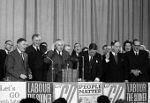 Harold Wilson, Labour Party General Election rally, Hammersmith Town Hall London 1964 - Romano Cagnoni - 1960s,1964,campaign,campaigning,CAMPAIGNS,General Election,Harold Wilson,Labour,Labour Party,London,male,man,men,MP,MPs,Party,people,person,persons,POL,political,politician,politicians,politics,rallie