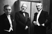 Violinist Endre Wolf, composer Edmund Rubbra and conductor Rudolf Schwarz, dressing room, Royal Festival Hall after a performance of Edmund Rubbra Violin Concerto by the BBC Symphony Orchestra 1960Vio... - Alan Vines - 17-02-1960