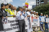 Mayor John Biggs speaking, protest against the brutal arrest of Younass Dentahar, a Moroccan parent of a disabled child on the Aberfeldy Estate, Tower Hamlets, East London - Jess Hurd - 12-07-2019