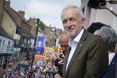 2019 Durham Miners Gala, Jeremy Corbyn on the balcony of the County Hotel - Mark Pinder - 13-07-2019