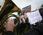 2019 Durham Miners Gala, Brass band playing - Mark Pinder - 2010s,2019,ACE,Arts,band,bands,Brass Band,Culture,DMA,Durham Miners Gala,gresford,male,man,melody,member,member members,members,men,MINER,Miners,MINER'S,music,MUSICAL,musical instrument,musical instru