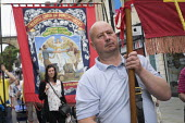 Banners, 2019 Durham Miners Gala - Mark Pinder - 2010s,2019,BANNER,Banners,DMA,Durham Miners Gala,male,man,member,member members,members,men,MINER,Miners,MINER'S,NUM,parade,people,person,persons,Trade Union,Trade Union,Trade Unions,Trades Union,Trad