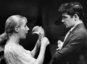 Berliner Ensemble first visit to UK to stage Mother Courage by Bertolt Brecht London 1956. Agnes Kraus with English actor Alan Bates - Alan Vines - 1950s,1956,1st,ACE,ACTING,Actor,actors,adult,adults,Agnes Kraus,Alan Bates,arts,Berliner Ensemble,Bertolt Brecht,Brecht,cities,City,communicating,communication,conversation,conversations,culture,dialo