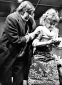 The Ruffian On The Stair by Joe Orton at the Soho Poly London 1973. David Warner as Mike and Prunella Scales as Joyce - Peter Harrap - 1970s,1973,ACE,acting,actor,actors,Arts,culture,David Warner,drama,DRAMATIC,entertainment,FEMALE,fringe theatre,Joe Orton,London,male,man,men,people,person,persons,play,PLAYING,Prunella Scales,Ruffian