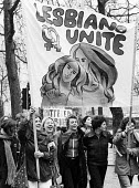International Womens Day protest 1974 - Chris Davies - 1970s,1974,activist,activists,against,banner,banners,CAMPAIGNING,CAMPAIGNS,cities,City,DEMONSTRATING,Demonstration,equal,equal rights,equality,FEMALE,feminism,feminist,feminists,gay,gays,homosexual,HO