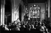 Church of England service Aldeburgh Suffolk 1957 - Kurt Hutton - 1950s,1957,Anglican,belief,Christian,christianity,christians,church,Church of England,church service,churches,clergy,Cof E,cofe,congregation,conviction,faith,GOD,LIFE,monotheistic,morning,PEOPLE,relig